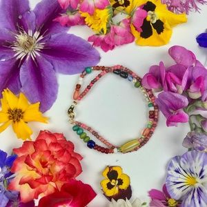 Double Strand Seed Bead Bracelet Multicolored